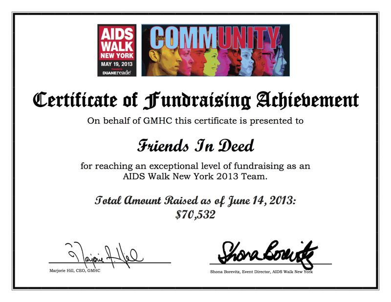 AIDS Walk Team Certification of Appreciation 2013